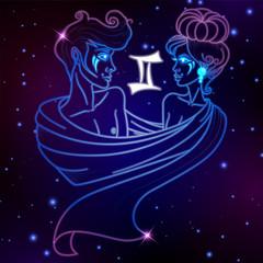 Gemini zodiac sign, horoscope symbol, vector illustration