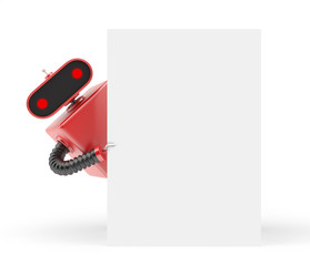 Retro robot looks out from behind a blank sheet of paper. 3D illustration isolated on white background