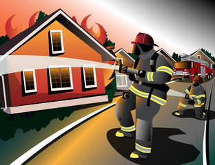 Firefighters try to extinguish burning houses