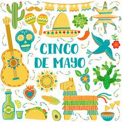 Vector Cinco de Mayo background. Mexican symbols greeting card