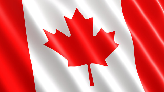 Canadian flag waving in the wind. 3D illustration, close-up