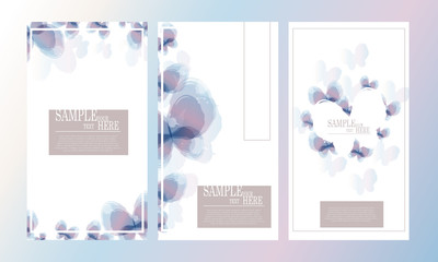 Vector abstract watercolor butterfly template design set