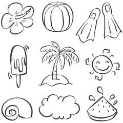 Doodle of element beach summer