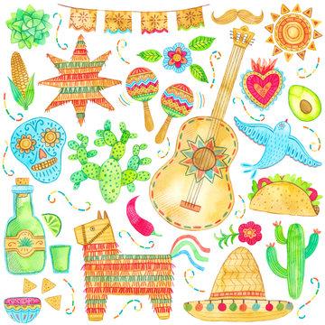 Watercolor mexico, cinco de mayo illustration