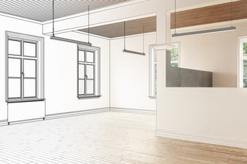 Büroraum, leer (Zeichnung)