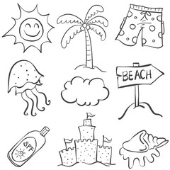 Doodle of element summer object collection