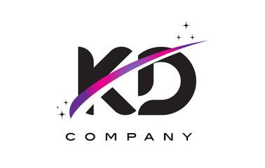 KD K D Black Letter Logo Design with Purple Magenta Swoosh