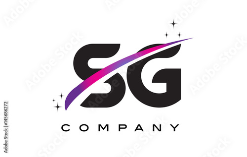 SG S G Black Letter Logo Design With Purple Magenta Swoosh