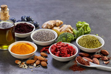 Bowls of colorful spices and ingredients