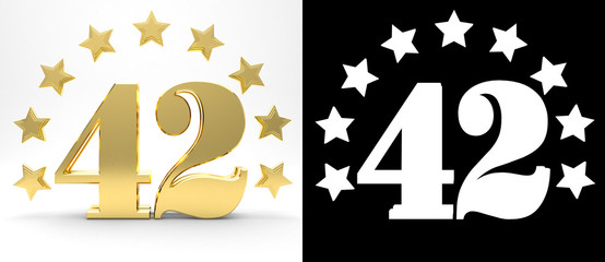 Golden number forty two on white background with drop shadow and alpha channel , decorated with a circle of stars. 3D illustration