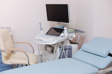 Professional medical equipment in the sonography cabinet