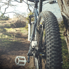 Mountain bike on foot path - low angle view