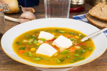 Dietary vegetarian vegetable soup with tofu