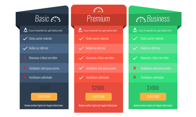 Trendy price list and offer columns. Flat vector.