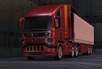Futuristischer Lastkradtwagen mit geschlossenem Auflieger vor einer Betonwand