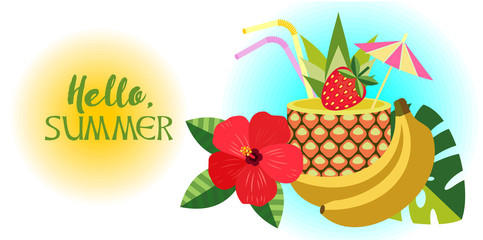 Hello, summer! Vector illustration, composition. Tropical cocktail in pineapple, hibiscus flower, banana.