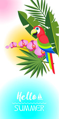 Hello, summer! Vector illustration. Bright parrot among the palm leaves.