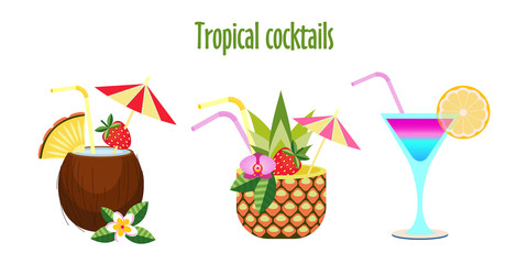 Set of tropical cocktails. Vector illustration. Isolated on a white background.