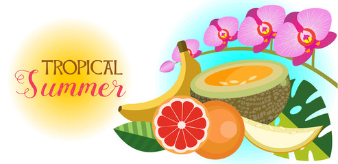The tropical summer. Vector illustration. Tropical flowers and fruits.