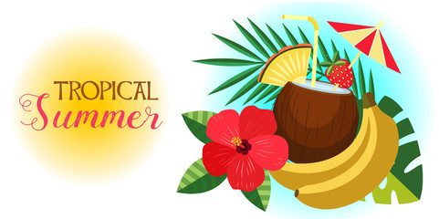 Tropical summer vector illustration. Tropical cocktail in a coconut, palm leaves, bananas and hibiscus flower.