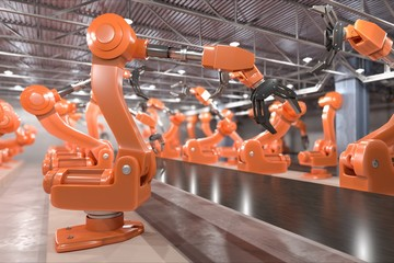 Industry 4.0 concept. Robotic arms in factory. 3D rendered illustration.