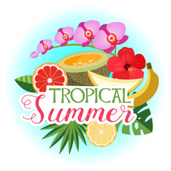 Tropical summer, vector composition. Melon, Orchid, grapefruit, banana, orange, hibiscus flower, palm leaves.