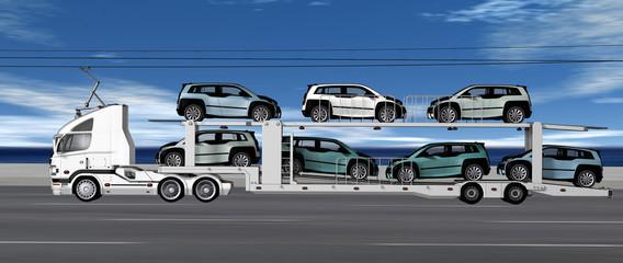 Ein mit Elektroantrieb fahrender Autotransport beladen mit E-PKW