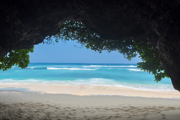 Secret Green Bowl cave beach in Bali, Indonesia. Hidden paradise destination for tourists