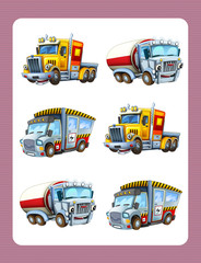 cartoon guessing game for little kids with colorful industry cars joining pairs