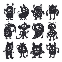 Funny cute doodle hand drawn monsters vector set