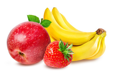 Fototapete - Bananas , strawberries and apples  isolated on white