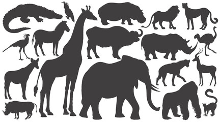 Set of silhouettes of African animals.