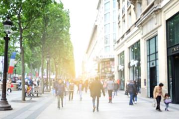 blur background of tourist walking on Champs-Élysées in Paris,France