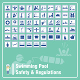 Set of labels and signs of swimming pool safety rules and - Swimming pool diving board regulations ...