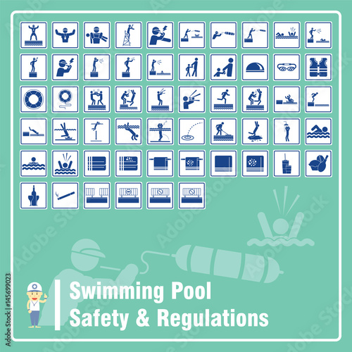 Set Of Signs And Symbols Of Swimming Pool Safety Rules