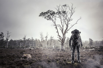 Astronaut in forest