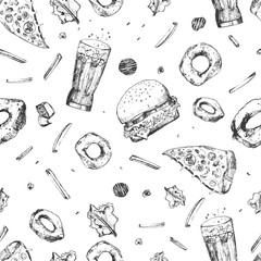 Vector sketch fast food seamless pattern. Monochrome junk food wrapping with pizza slices, burger, french fries and hot dog. Great for menu, poster or restaurant background, banner