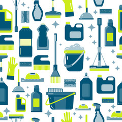 Vector seamless pattern with cleaning items in flat style including spray bottle, bucket, mop and household supplies. Sanitary and desinfection