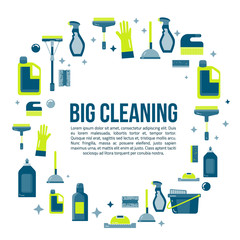 Vector cleaning items banner in flat style with spray bottle, bucket, mop and household supplies. Sanitary and desinfection