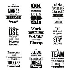 Set of Inspirational quotes about work and team vector design isolated on white background. Can be used on t-shirts, pictures, posters for wall