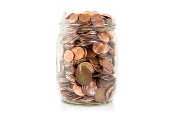 Money jar isolated on white