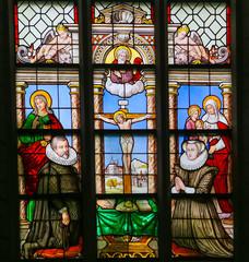 Foto op Plexiglas Stained 15th Century Stained Glass in Antwerp
