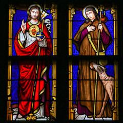 Photo sur Plexiglas Vitrail Stained Glass - Jesus Christ and Saint Roch