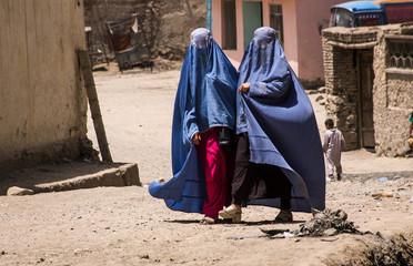 Afghan women in burqas walking in the street in Kabul