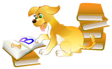 Illustration of cute little puppy learning to read the book, vector cartoon image.