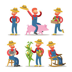 Happy Farmer Cartoon. Guy with Basket of Vegetables. Vector Character illustration