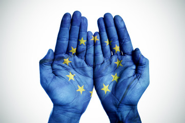 hands patterned with the european flag