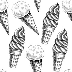 Pink ice cream  .Vector seamless pattern. Vintage style