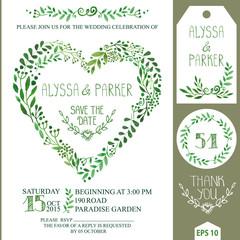 Wedding invitation set.Green watercolor branches heart wreath