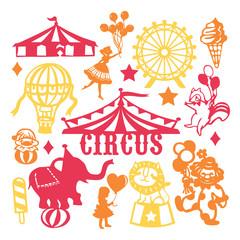 Paper Cut Silhouette Vintage Circus Set